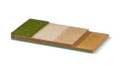 Unterbodensystem für Belege aus PVC, CV, Linoleum, Gummi und Kork. Optimal für Design-Böden, 2-Schicht-Fertigparkett. Und in der Kombination mit Fußbodenheizung!! Ausgelegt für Belastung und Nutzung im Objektbereich.